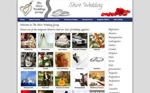 Screenshot of Home Page shire-wedding.com - The Shire Wedding Group: Find Wedding Suppliers in your area - captured Oct. 6, 2014