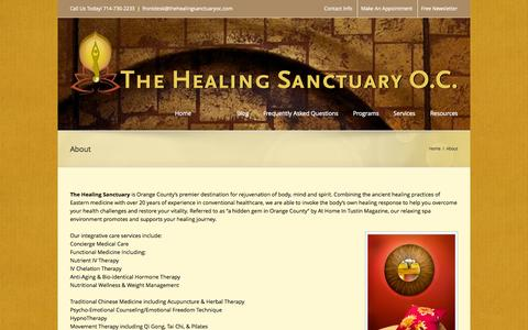 Screenshot of About Page thehealingsanctuaryoc.com - The Healing Sanctuary   –  About - captured Oct. 26, 2014