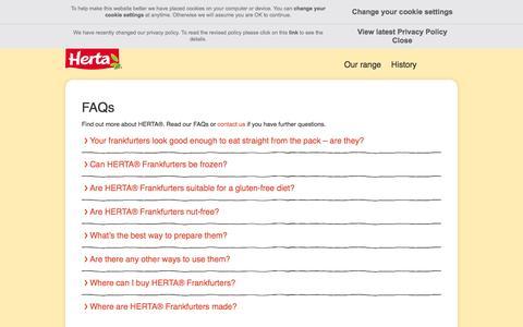 Screenshot of FAQ Page herta.co.uk - FAQs   Herta - Home of the hot dog - captured May 21, 2016