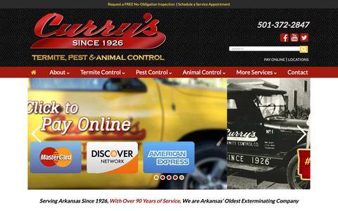 Screenshot of Home Page curryspestcontrol.com - Curry's Termite & Pest Control - captured Sept. 30, 2018