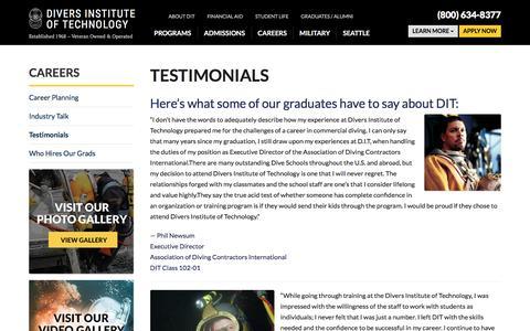 Screenshot of Developers Page diversinstitute.edu - Testimonials - Divers Institute of Technology - captured Nov. 13, 2016