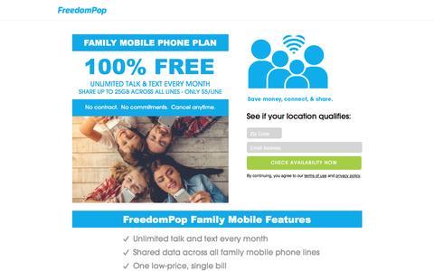 Screenshot of freedompop.com - Family Mobile Phone Service: 100% Free Family Mobile Plan - FreedomPop™ - captured May 28, 2017