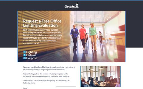 Screenshot of Landing Page graybar.com - Request a Lighting Evaluation - captured March 5, 2018