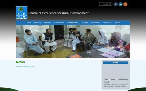 Screenshot of Press Page cerdpakistan.org - CERD Pakistan » News - captured Oct. 1, 2014