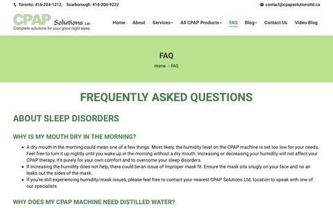 Screenshot of FAQ Page cpapsolutionsltd.ca - FAQ About Sleep Disorder & Sleep Health | CPAP Solution Ltd. - captured Sept. 27, 2019