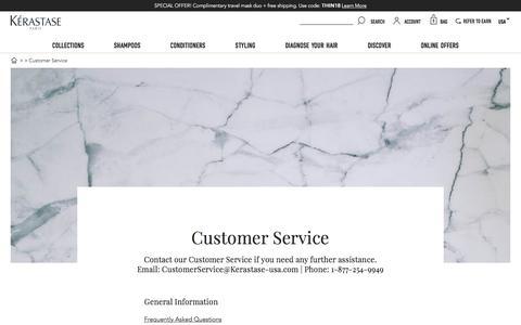 Screenshot of Support Page kerastase-usa.com - Contact Our Customer Service | Kérastase - captured Aug. 11, 2018