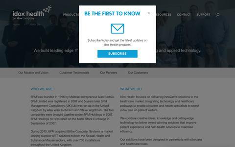 Screenshot of About Page idoxgroup.com - About Us - Idox Health - An Idox Company - captured Sept. 21, 2018