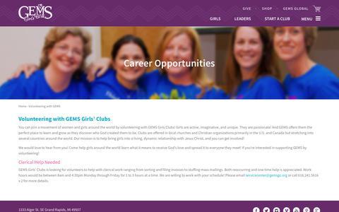 Screenshot of Jobs Page gemsgc.org - Volunteering with GEMS   GEMS - captured July 8, 2017