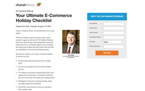 Screenshot of Landing Page channeladvisor.com - Your Ultimate E-Commerce Holiday Checklist | ChannelAdvisor - captured Sept. 25, 2016