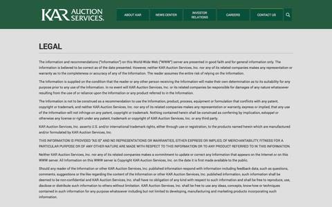 Screenshot of Terms Page karauctionservices.com - Legal   KAR Auction Services - captured Oct. 6, 2014