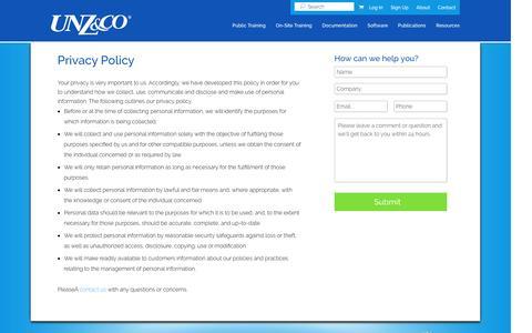 Screenshot of Privacy Page unzco.com - Privacy Policy | Unz & Co. - captured Nov. 20, 2016