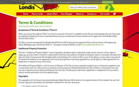 Screenshot of Terms Page londis.co.uk - Terms & Conditions - Londis - captured Jan. 26, 2016