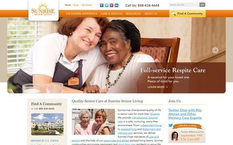 Screenshot of Home Page sunriseseniorliving.com - Assisted Living Communities | Senior Care | Sunrise Senior Living - captured Sept. 19, 2014
