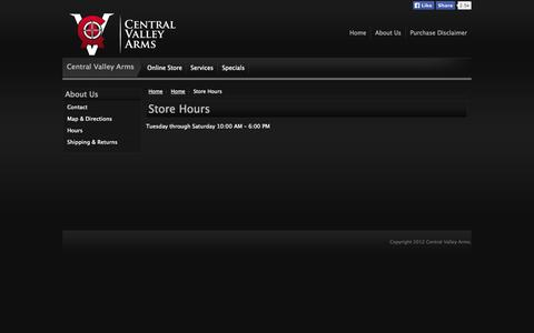 Screenshot of Hours Page cvarms.com - Hours     Central Valley Arms - captured Oct. 2, 2014