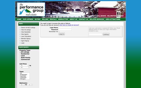Screenshot of Login Page vthomes.com - The Performance Group - Killington Real Estate - captured Sept. 27, 2018