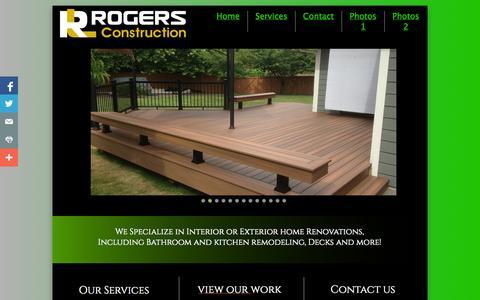 Screenshot of Home Page rlrogersconstruction.com - Decks, Deck building, remodeling, kitchens, bathroom remodeling and renovations - captured Oct. 3, 2014