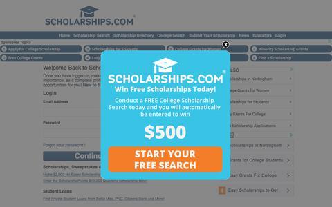 Screenshot of Login Page scholarships.com - Scholarships.com Free College Scholarship Search, Student Loans & College Scholarships - captured June 23, 2017