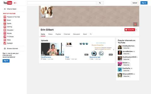 Screenshot of YouTube Page youtube.com - Erin Gilbert  - YouTube - captured Oct. 22, 2014
