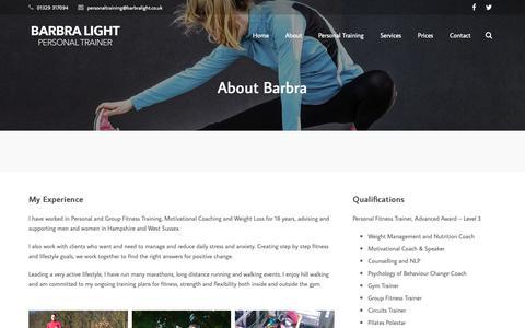 Screenshot of About Page barbralight.co.uk - About Barbra - Barbra Light - captured Nov. 13, 2018
