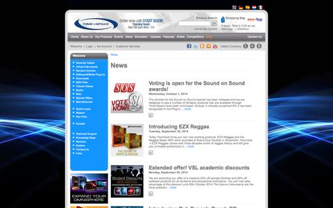 Screenshot of Press Page timespace.com - News - Time+Space | Virtual Instruments, VST Plugins, Sample Libraries, Sample CDs, Downloads, Tutorial DVDs, Hardware and Software - captured Oct. 7, 2014