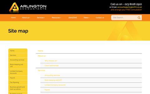 Screenshot of Site Map Page arlingtonaccountants.co.uk - Site map Eastleigh : Arlington - captured Oct. 4, 2018