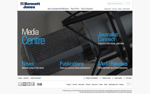 Screenshot of Press Page bennettjones.com - Media   Bennett Jones - captured Sept. 25, 2014