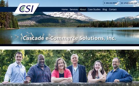 Screenshot of About Page 4cesi.com - About | Cascade e-Commerce Solutions, Inc. - captured Sept. 27, 2018