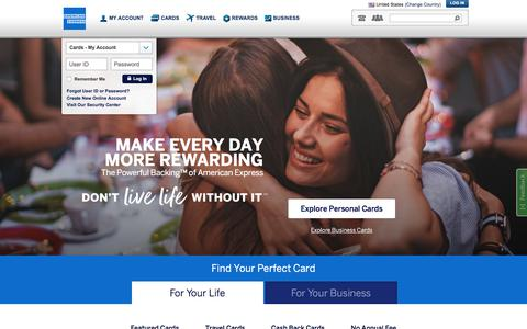 Screenshot of Home Page americanexpress.com - American Express Credit Cards, Rewards, Travel and Business Services - captured June 18, 2018