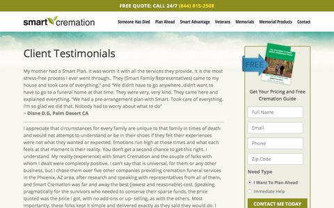 Screenshot of Testimonials Page smartcremation.com - Smart Cremation Reviews | Quality Customer Service Speaks Volumes - captured July 27, 2018