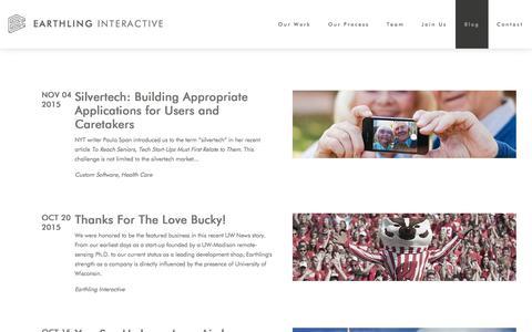 Screenshot of Blog earthlinginteractive.com - Blog - Earthling Interactive   Web + Mobile Apps   Ecommerce   Madison, WI - captured Dec. 6, 2015