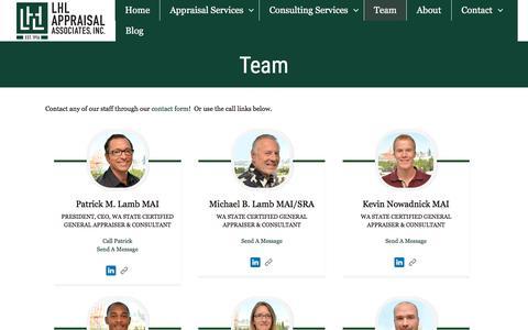 Screenshot of Team Page lhlappraisal.com - Team - Lamb Hanson Lamb Appraisal Associates, Inc. - captured Sept. 24, 2018
