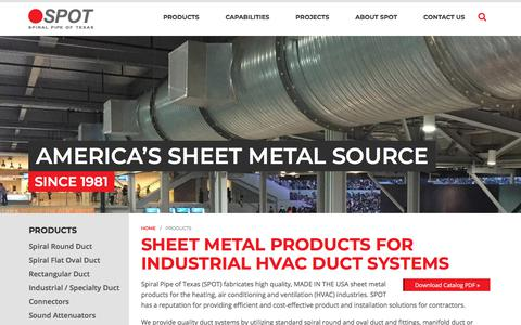 Screenshot of Products Page spotusa.com - Custom Sheet Metal Products | Industrial HVAC Duct Systems | Fabricator - captured Feb. 16, 2018
