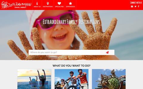 Screenshot of Home Page letstakethekidstravel.com - Welcome to Lets Take the Kids - captured Nov. 6, 2016