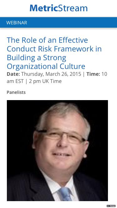 WEBINAR: The Role of an Effective Conduct Risk Framework in Building a Strong Organizational Culture