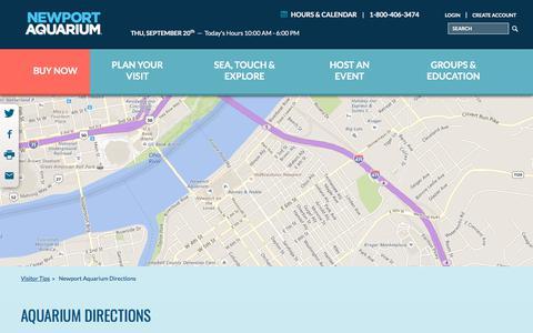 Screenshot of Maps & Directions Page newportaquarium.com - Aquarium Directions - captured Sept. 20, 2018