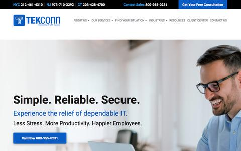 Screenshot of Home Page tekconn.com - Managed Services, Cloud Computing, IT Support - New York, Brooklyn, Queens | TEKConn - captured July 30, 2019