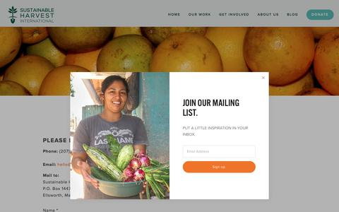 Screenshot of Contact Page sustainableharvest.org - Contact + Directions — SHI - Sustainable Agriculture + Organic Farming for Poverty Alleviation - captured Oct. 25, 2017