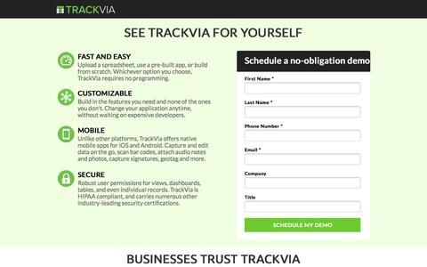 Screenshot of Landing Page trackvia.com captured Aug. 13, 2016