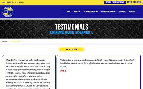 Screenshot of Testimonials Page gireroofing.com - Client Reviews | Gire Roofing - captured Nov. 4, 2018