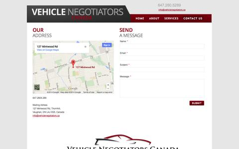 Screenshot of Privacy Page Contact Page vehiclenegotiators.ca - Contact Us - captured Oct. 26, 2014
