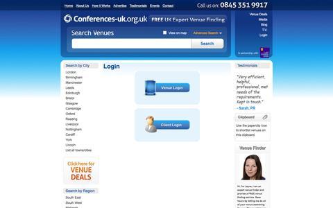 Screenshot of Login Page conferences-uk.org.uk - Login All | Conference Venues UK - captured July 15, 2016