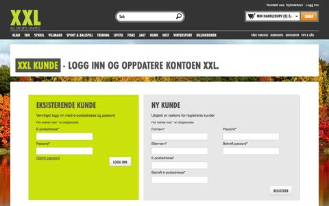 Screenshot of Login Page xxl.no - Stort utvalg - Lave priser | XXL - captured Sept. 19, 2014