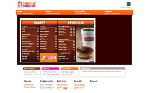 Screenshot of Menu Page dunkindonuts.pk - Dunkin' Donuts Pakistan | Karachi - captured Oct. 6, 2014