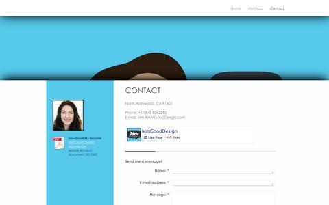 Screenshot of Contact Page mmgooddesign.com - - Contact - captured Feb. 27, 2016