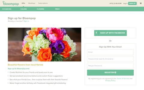 Screenshot of Signup Page bloompop.com - Sign Up for Bloompop - Become a Bloompop Member - captured Sept. 30, 2014