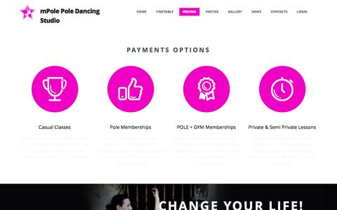 Screenshot of Pricing Page mpole.com.au - Pole Dancing Memberships at mPole Newcastle - captured June 15, 2016