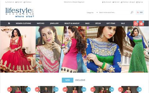 Screenshot of Home Page lifestylemegamart.com - Online Shopping India: Shop Salwar Kameez, Sarees, Watches, Handbags, Jewellery and More ✓ Free Shipping ✓ Cash on Delivery (COD) - captured Sept. 23, 2014