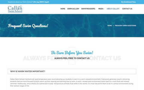 Screenshot of FAQ Page callanswimschool.com - Frequently Asked Swim Questions - Callan Swim School   Callan Swim School - captured July 15, 2018