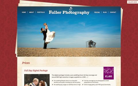 Screenshot of Pricing Page fullerphotographyweddings.co.uk - Digital, Traditional Wedding Photography Package Prices - captured Jan. 8, 2016