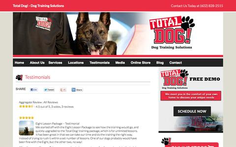 Screenshot of Testimonials Page totaldog.com - Testimonials - Total Dog Training Solutions - captured Oct. 26, 2014